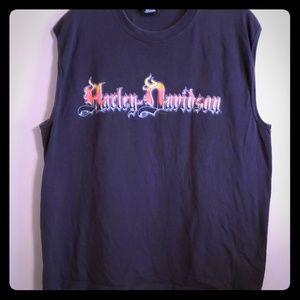 Sleeveless harley Davidson tshirt 2004 graphics